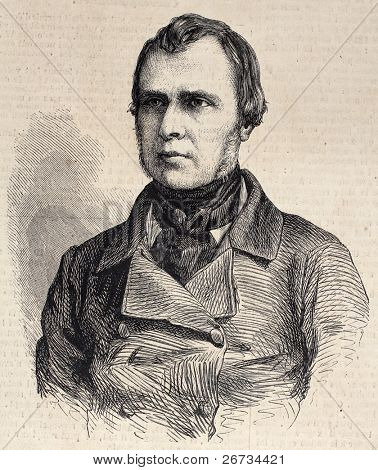 "Old engraved portrait of Narcisse Girard, French orchestra director. Original, from drawing of Hofer, was  published on ""L'Illustration, Journal Universel"", Paris, 1860"