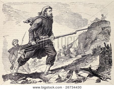 Spanish-basque soldier during Moroccan expedition. Original , from a drawing of Worms after sketch of M. P. de Landesa, was  published on â??L'Illustration, Journal Universelâ?, Paris, 1860