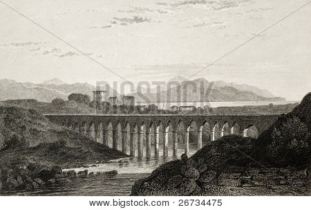 Old illustration of an aqueduct near Palermo, Italy. Original engraving was created by E. Dewint and Goodall and was published in London in 1822