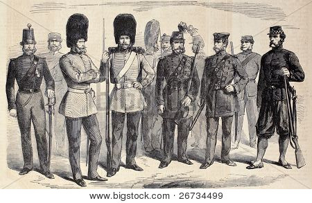 Old illustration of British riflemen uniforms. Original, from drawing of G. Durand, was published on â??L'Illustration, Journal Universelâ?, Paris, 1860
