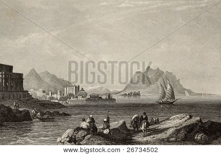 Antique engraving showing a view of Gulf of Palermo, Italy. The original illustration may be dated to the half of 19th c. (Aus d. Kunstanst, d. Bibliogr. Inst in Hildburgh - Eigenthum der Verleger)
