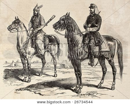 French officer and Persian cavalier during French mission in Persia. Original, by drawing of E. Duhousset, was published on