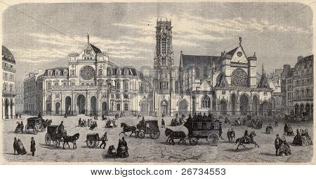 "Antique illustration of Place du Louvre, with Mairie du 1er arrondissement, the belfry and Saint Germain l'Auxerrois. By Fichot. Published on ""L'Illustration, Journal Universel"", Paris, 1860"