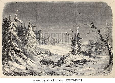 Old illustration of a dramatic scene during retreat from Russia. Original, from design of De Neuville, after décoration of Daran et Poison, published on L'Illustration, Journal Universel, Paris, 1860