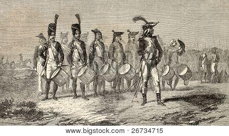alte Darstellung der militärischen Trommler Band des italienischen Heeres. erstellt von Würmern auf Gemälde von d. A. M. r