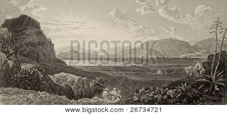 An old print shows panorama of Palermo from Favorita gardens. The original engraving was created by Dewint and Heath in 1821