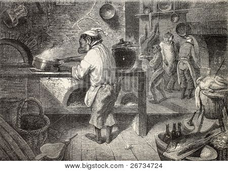Surrealistic antique illustration of  kitchen with monkeys cooking. Original, from drawing of Janet-Lange on a tablet of M. Decamps, was published on L'Illustration, Journal Universel, Paris, 1860