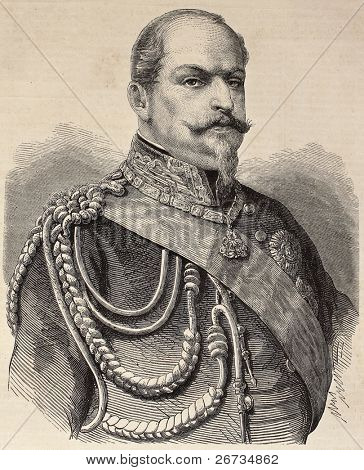 Old engraved portrait of Prince Eugene de Savoy-Carignano. Original, from drawing of Marc, was  published on L'Illustration, Journal Universel, Paris, 1860