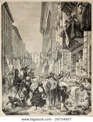 Carnival festivities in Rome, along the street.  Original, from drawing of Godefroy and Durand after peinture of  Wider, published on L'Illustration, Journal Universel, Paris, 1860