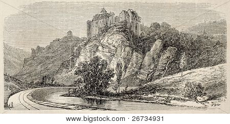 Antique illustration shows Chateaux de Bruniquel, ancient castle in Tarn-en-Garonne, southern France.  Original, from drawing of Forest, was published on L'Illustration, Journal Universel, Paris, 1860