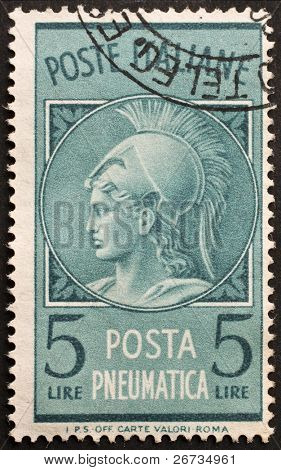 ITALY - CIRCA 1958: a stamp printed in Italy shows image of Minerva, the roman goddess of wisdom and inventor of music. Italy, circa 1958
