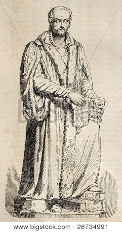 Antique engraving of a statue of Phillippe Melanchton, sculpted by A. Friedrich. From a drawing of Mariani after sketch of Gouin, published on L'Illustration, Journal Universel, Paris, 1860
