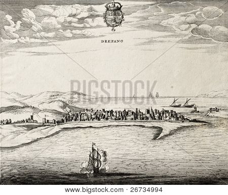 An antique illustration of Trapani, in the west Sicily. Te map may be approximately dated to the 17th c.
