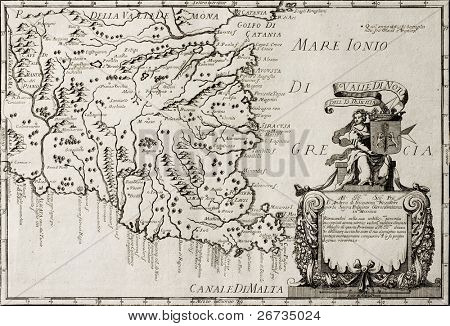 Old map of South-East Sicily.  The original map is datable approximately between the and of 17th c. and the beginning of 18th c. and was created by Franciscus Cassianus Da Silva