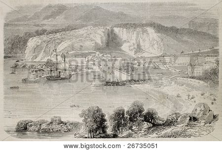 Antique illustration showing a view of the Nice including harbour. Original, from a design of Rouargue, after sketch of Merle, was published on L'Illustration, Journal Universel, Paris, 1860