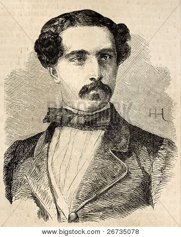 Old engraved portrait of General Ortega. Original, from drawing of Hofer, after photo of O. Aguado, was published on L'Illustration, Journal Universel, Paris, 1860