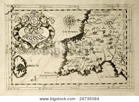 Old map of Capuchins province of Syracuse in Sicily. The map may be dated to the 17th c. and includes also Malta island