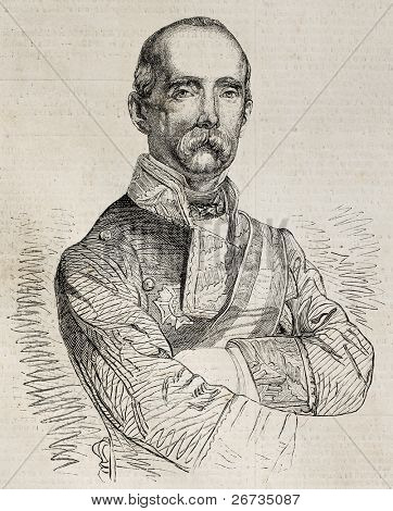 Antique engraved portrait of Antonio Ros de Olano, famous Spanish general and politician. Original, from a design of M. L. Sanchez, was published on L'Illustration, Journal Universel, Paris, 1860