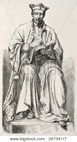 Statue of Jacques Amyot, the famous French Renaissance writer. Drawing of Duvaux on statue sculpted by M. Godin. Published on L'Illustration, Journal Universel, Paris, 1860
