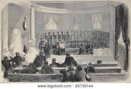 Antique illustration shows assassination attempt to the imperial Court in Toulouse. Original, from drawing of Durand, after sketch of Gavoy, published on L'Illustration, Journal Universel, Paris, 1860