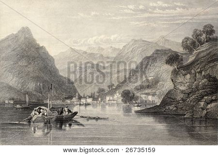 Antique illustration of Lake Como, northern Italy. Original, created by W. L. Leitch and S. Fisher, was published in Florence, Italy, 1842, Luigi Bardi ed.