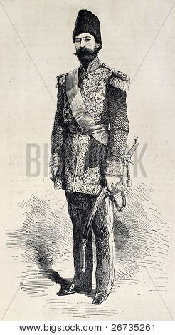 Antique engraving shows image of Hassan Ali Khan, Persian ambassador in Paris. Original, from drawing of Janet-Lange, after photo of A. Ken, published on L'Illustration, Journal Universel, Paris, 1860