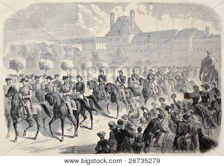 Antique illustration shows French emperor Napoleon III horse riding with Chiefs of Staff. Original, from drawing of Janet-Lange, published on L'Illustration, Journal Universel, Paris, 1860