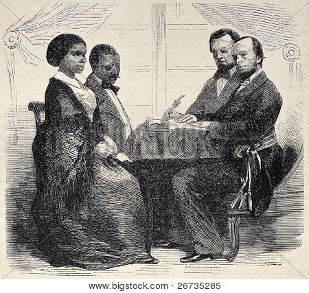 Antique illustration shows black wedding by family status authorities in Reunion Island. Original engraving, from photo of Hugoulin, was published on L'Illustration, Journal Universel, Paris, 1860