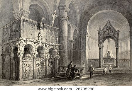 Antique illustration of Sant'Ambrogio Basilica interior, Milan, Italy. Original, created by W. H. Bartlett and T. Turnbull, was published in Florence, Italy, 1842, Luigi Bardi ed.