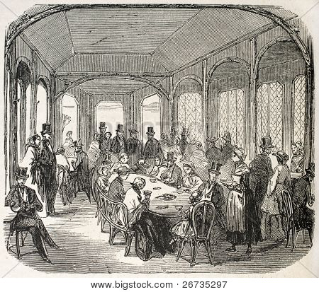 Antique illustration shows Milkbar interior, in the Bois de Vincennes, Paris. Original, from drawing of Gaildrau, was published on L'Illustration, Journal Universel, Paris, 1860