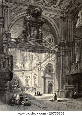 Old illustration of Madonna del Carmine church interior in Naples, Italy. Original, created by W. L. Leitch and J. Tingle, published in Florence, Italy, 1842, Luigi Bardi ed.