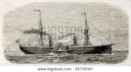 Antique illustration of american steamer sailing. Original, from drawing of Lebreton, after sketch of Barbin, was published on L'Illustration, Journal Universel, Paris, 1860