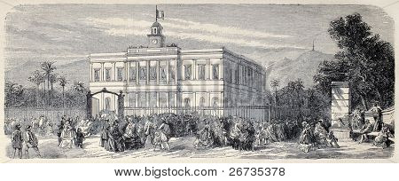 Antique illustration of Saint-Denis City Hall, Reunion Island. Original engraving, from drawing of Provost, after photo of Hugoulin, was published on L'Illustration, Journal Universel, Paris, 1860