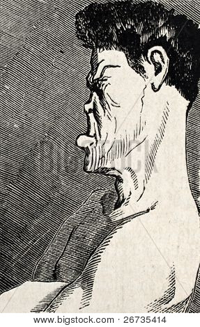Antique humorous illustration of a boxer face profile. Original, from drawing of Benassis and Darjou, published on L'Illustration, Journal Universel, Paris, 1860