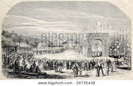 Antique illstration of Cantagallo railway station inauguration, Brazil. Original, from drawing of Durand, after sketch of Baron de Geslin, published on L'Illustration, Journal Universel, Paris, 1860
