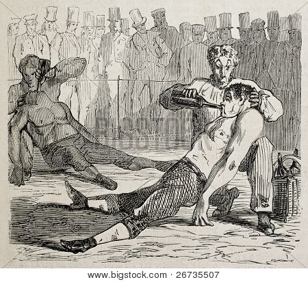 Antique humorous illustration of two boxers knocked out at the end of match. Original, from drawing of Benassis and Darjou, published on L'Illustration, Journal Universel, Paris, 1860