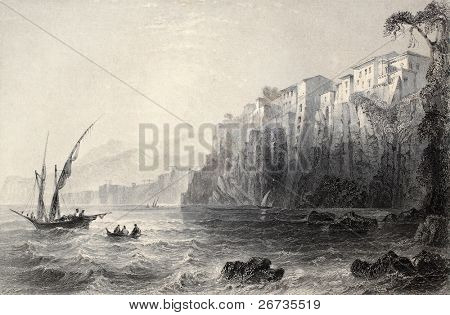 Antique illustration of Sorrento, Italy. Original, created by W. H. Bartlett and J. C. Bentley, was published in Florence, Italy, 1842, Luigi Bardi ed.