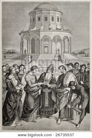 Antique illustration of Marriage of the Virgin, the famous Raphael's picture, engraved by A. Jourdain. Original published on L'Illustration, Journal Universel, Paris, 1860