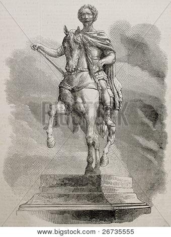 Antiguo dibujo de la estatua ecuestre de Napoleón III. Original grabado desde la escultura de