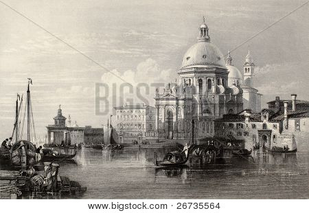 Antique illustration of  Santa Maria della Salute basilica, Venice, Italy. Original, created by W. L. Leitch and J. Radaway, was published in Florence, Italy, 1842, Luigi Bardi ed.