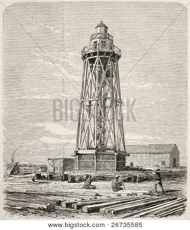 Port Said lighthouse just built while working on the Suez canal opening. Original, from drawing of Blanchard and Anastasi, was published on L'Illustration, Journal Universel, Paris, 1860