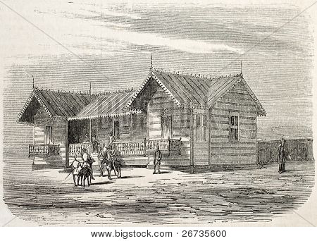 Antique illustration of engineers cottage in Port Said, working on the Suez canal opening. Original, from drawing of Blanchard and Anastasi, published on L'Illustration, Journal Universel, Paris, 1860
