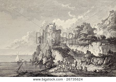 Coast of Sicily under castle at Cape Scaletta. Created by Chatelet and Bretin, published on Voyage Pittoresque de Naples et de Sicilie, by J. C. R. de Saint Non, Imprimerie de Clousier, Paris, 1786