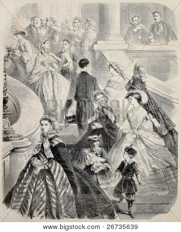 Antique illustration of old summer dresses for women and children.  Original, after drawing of Janet-Lange, was published on L'Illustration, Journal Universel, Paris, 1860