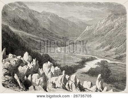 Antique illustration of mountains and valley around Chamonix. Original, from drawing of K. Girardet after photo of Bisson brothers, was  published on L'Illustration, Journal Universel, Paris, 1860