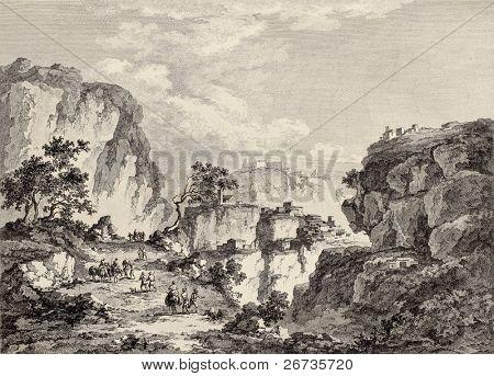View of Enna surrounding mountains, Sicily. Created by Chatelet and Du Parc, published on Voyage Pittoresque de Naples et de Sicilie, by J. C. R. de Saint Non, Imprimerie de Clousier, Paris, 1786