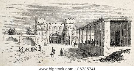Antique illustration shows Gate and post office of Isfahan, Persia. Original, after drawing of Duhousset, was published on L'Illustration, Journal Universel, Paris, 1860