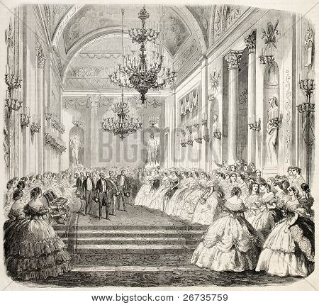 King Vittorio Emanuele during entertainment in a historical building in Florence. From drawing of Janet-Lange, after sketch of Sanesi, published on L'Illustration, Journal Universel, Paris, 1860