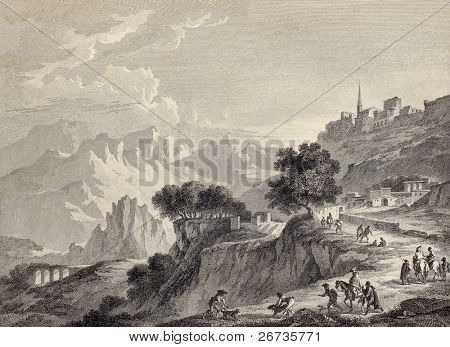 View of Leonforte surroundings, near Enna, Sicily. Created by Chatelet and Mathieu, published on Voyage Pittoresque de Naples et de Sicilie, by J. C. R. de Saint Non, Impr. de Clousier, Paris, 1786