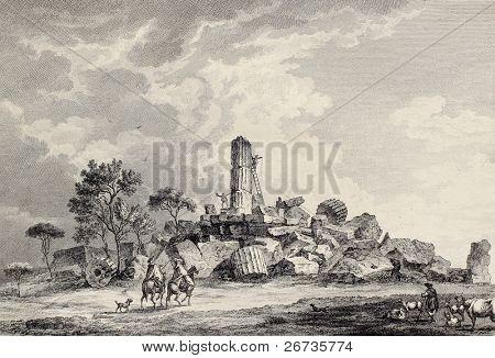 View of Hercules temple ruins, Agrigento, Sicily. Created by Desprez and De Longueuil, published on Voyage Pittoresque de Naples et de Sicilie, by J. C. R. de Saint Non, Impr. de Clousier, Paris, 1786